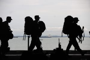 Military Soldiers marching silhouette