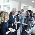 Team networking during their lunch break